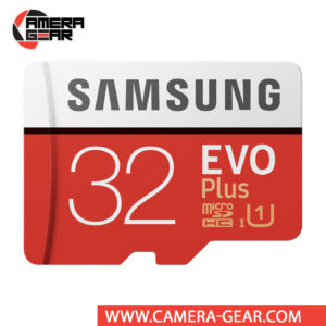 Samsung 32GB EVO Plus UHS-I microSDXC Memory Card with SD Adapter is very affordable microSD card for tablets, mobile phones, action and digital cameras
