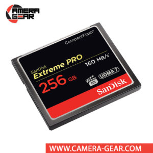 SanDisk 256GB Extreme Pro CompactFlash Memory Card is the highest performance option in the SanDisk CompactFlash card line. It provides up to 160MB/s read speed and up to 140MB/s write speed including UDMA-7 support