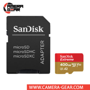 SanDisk 400GB Extreme UHS-I microSDXC Memory Card with SD Adapter is designed to provide plenty of storage for tablets, faster app boots for Android smartphones, capturing fast-action photos with action cameras, and recording 4K UHD video with drones