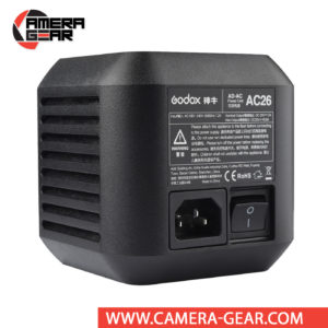 Godox AC26 is designed specifically for the AD600Pro flash, and it allows you to plug the light into a wall socket instead of powering it with its rechargeable battery. It gives you essentially unlimited run time, making this an ideal accessory for long studio shoots.