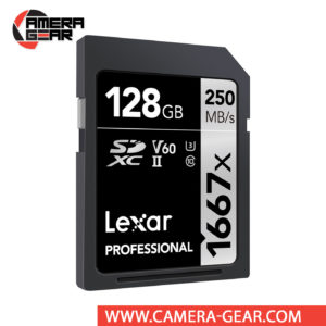 Lexar 128GB Professional 1667x UHS-II SDXC Memory Card delivers maximum performance to improve shooting and workflow. The card is rated at 250MB/s read speed and 90MB/s write speed. Thanks to its V60 speed class rating, minimum write speeds are guaranteed not to drop below 60 MB/s. To reach these speeds the card uses the UHS-II interface. The card is backward compatible and will operate in standard SD and UHS-I devices