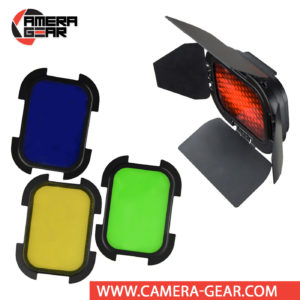 Godox BD-07 Barndoor Kit with 4 Color Gels for AD200 attaches directly to the front of the flash head of AD200 or AD200 Pro. The kit consists of 4 way leafs barndoors, honeycomb grid and 4 color gel filters.