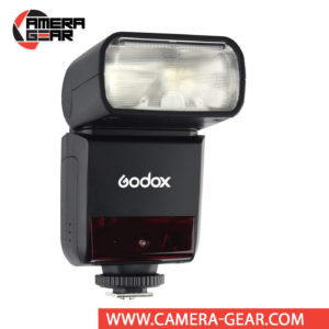 Godox V350F is a compact speedlite with advanced functions including TTL, high-speed sync, a built-in 2.4 GHz radio system, and a rechargeable lithium-ion battery capable of 500 full power flashes