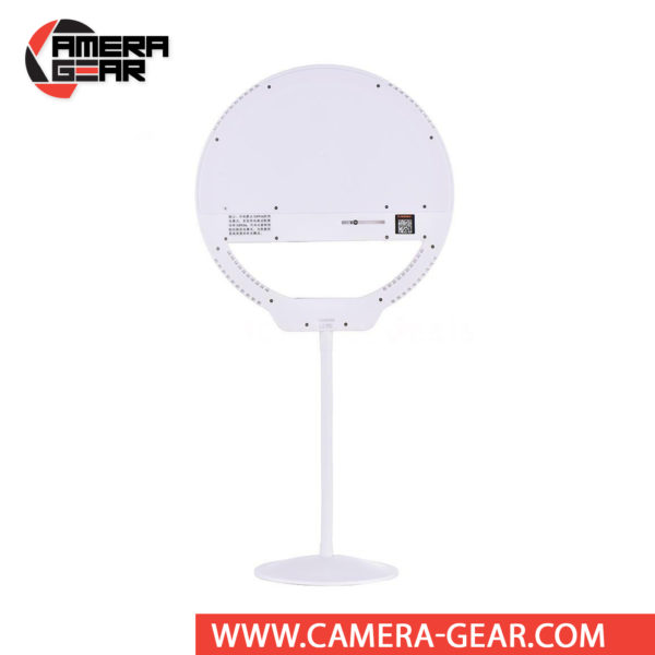 Yongnuo YN128 II Portable LED Ring Beauty Light with Variable Color Temperature Output 3200-5000K is a ring lamp and phone holder, designed specifically for lighting selfies and video streams. It is one of the most affordable Ring LED lights that feature mirror on the market.