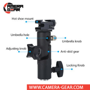 E-Type Adjustable Flash Shoe Mount Umbrella Bracket lets you adjust the umbrella and flash in different angles. It is suitable for all speedlites/flashes with standard hot-shoe mount