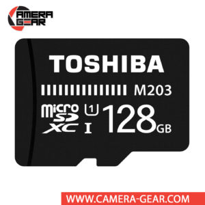 Toshiba 128GB M203 UHS-I microSDXC Memory Card is budget-friendly memory card designed for users on the go who require additional storage for their mobile devices. The card is water-resistant, shock-proof and features an impressive read speed of up to 100MB/s.