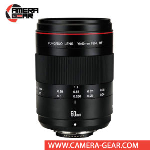 Yongnuo YN 60mm f/2 Macro Lens for Nikon cameras is a macro prime lens offering a life-size 1:1 maximum magnification and a bright f/2 aperture which suits photographing in difficult lighting conditions.