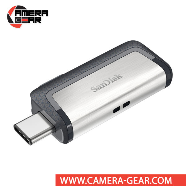 SanDisk 128GB Ultra Dual Drive USB Type-C Flash Drive supports data read speeds of up to 150 MB/s and features two connectors, one standard USB and one USB Type-C connector.