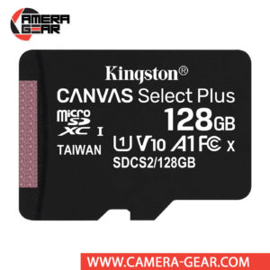 Kingston 128GB Canvas Select Plus UHS-I microSDXC Memory Card with SD Adapter offers improved speed and capacity for loading apps faster and capturing images and videos