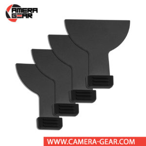 Godox SA-07 set of 4 Framing Shutters for Projection Attachment move independently inside a slot in the attachment's barrel, to create slits or irregular shapes that facilitate selective lighting.