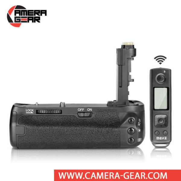 Battery Grip for Canon 6D Mark II, Meike MK-6D2 Pro offers both extended battery life and a more comfortable grip when shooting in the vertical orientation. The grip accepts two LP-E6 / LP-E6N batteries to effectively double the battery life for long shooting sessions. Wireless remote control included