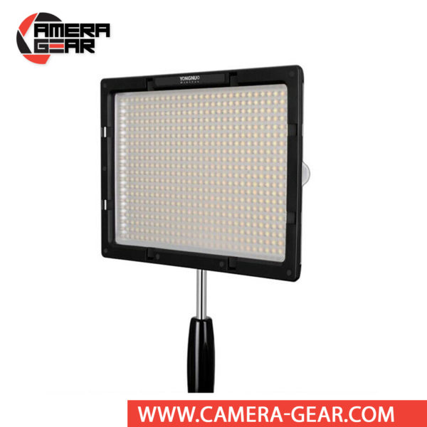 Yongnuo YN600S Bi-Color LED Light 3200-5500Kis a professional LED light for both photo and video work. It features 600 LED bulbs evenly split between daylight (5600K) and tungsten (3200K). This combination of LEDs allows you to set any color temperature in 3200-5500K range.