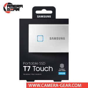 Samsung 500GB T7 Touch Portable SSD in silver color is a compact and secure storage solution that fits in the palm of your hand. Roughly the size of a few stacked credit cards, the T7 Touch is equipped 256-bit AES encryption, a fingerprint reader, and password protection