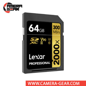 Lexar 64GB Professional 2000x UHS-II SDXC Memory Card delivers maximum performance to improve shooting and workflow. The card is rated at 300MB/s read speed and 260MB/s write speed. Thanks to its V90 speed class rating, minimum write speeds are guaranteed not to drop below 90 MB/s.