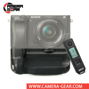 Battery Grip for Sony A6400, A6300 and A6000, Meike MK-A6300 Pro offers both extended battery life and a more comfortable grip when shooting in the vertical orientation. The grip accepts two NP-FW50 batteries to effectively double the battery life for long shooting sessions. Wireless remote control included