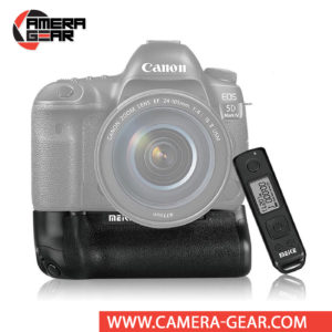 Battery Grip for Canon 5D Mark IV Meike MK-5D4 Pro offers both extended battery life and a more comfortable grip when shooting in the vertical orientation. The grip accepts two LP-E6 / LP-E6N batteries to effectively double the battery life for long shooting sessions. Wireless remote control included