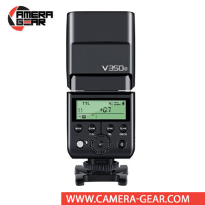 Godox V350O is a compact speedlite with advanced functions including TTL, high-speed sync, a built-in 2.4 GHz radio system, and a rechargeable lithium-ion battery capable of 500 full power flashes