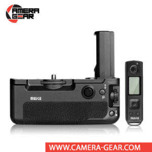 Battery Grip for Sony A7III, A7RIII, A9 Meike MK-A9 offers both extended battery life and a more comfortable grip when shooting in the vertical orientation. The grip accepts two NP-FZ100 batteries to effectively double the battery life for long shooting sessions. Wireless remote control included